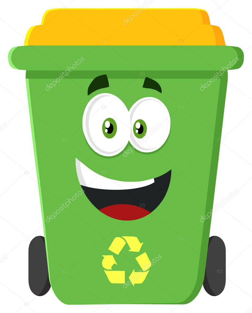 Happy Green Recycle Bin Cartoon