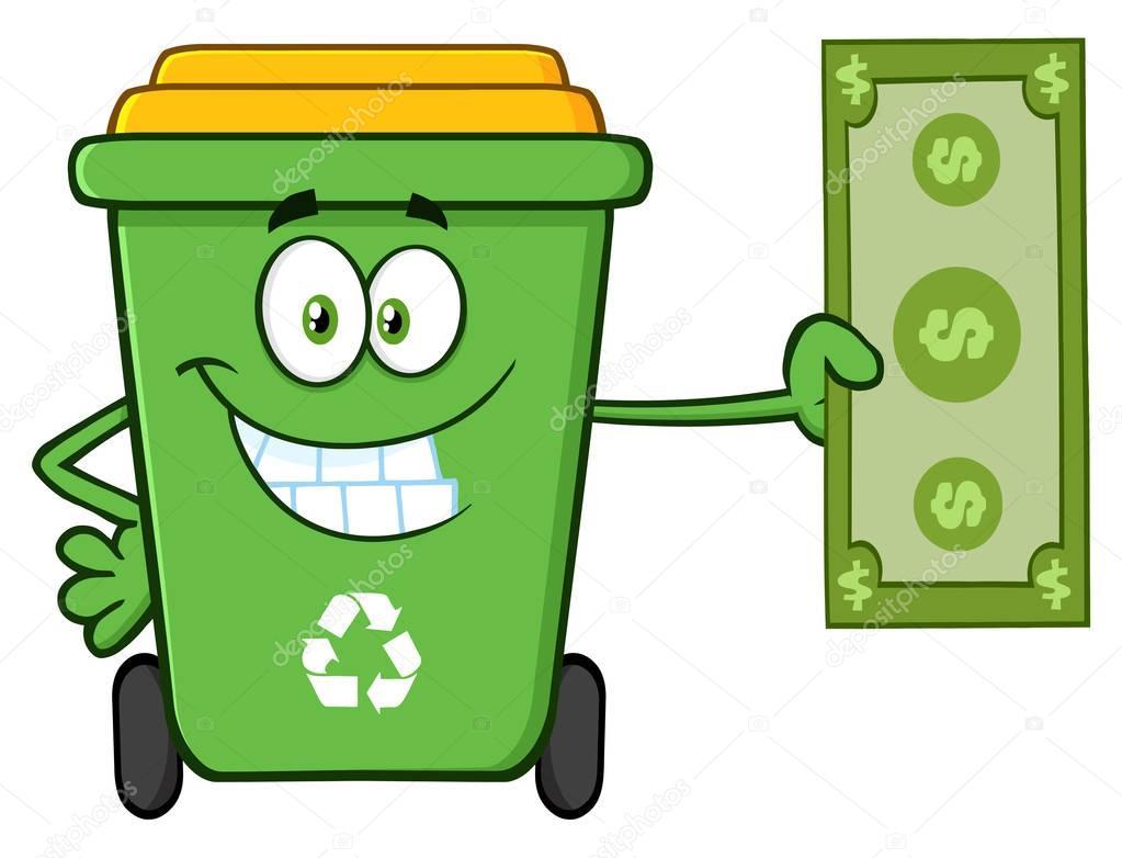 Smiling Green Recycle Bin Cartoon