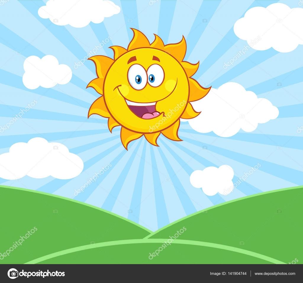 Kreslene Slunicko Happy Sun Maskot Stock Vektor C Hittoon 141904744