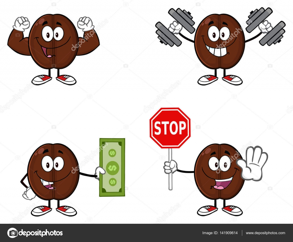Áˆ Coffee Cartoon Stock Images Royalty Free Coffee Bean Character Animated Download On Depositphotos