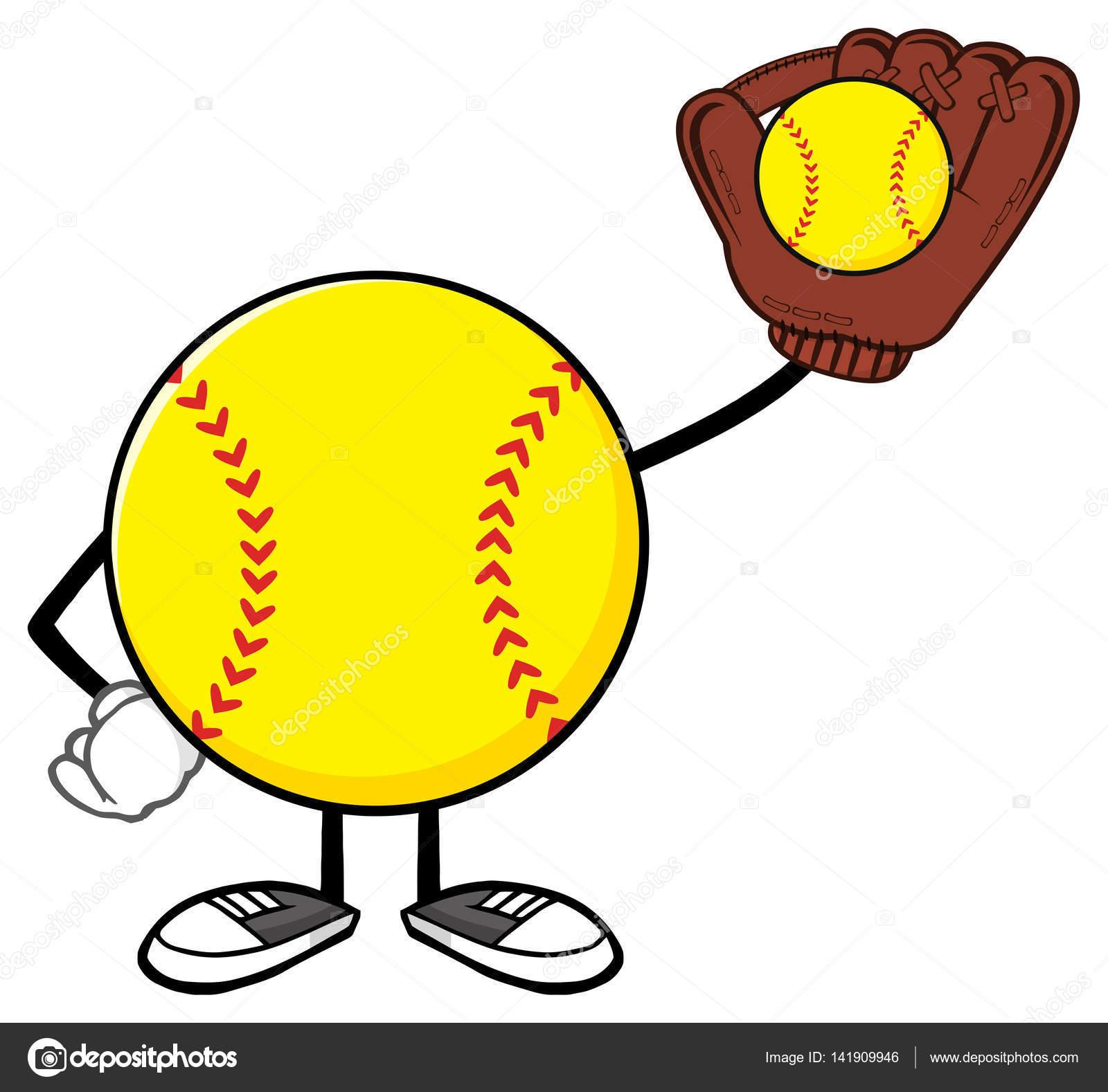 Softball player cartoon