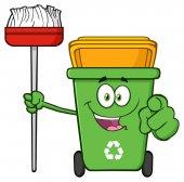Photo Open Green Recycle Bin Cartoon