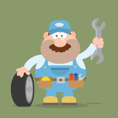 Smiling Mechanic Cartoon Character