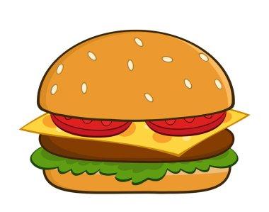 Hamburger Cartoon  Illustration