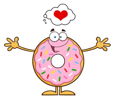 Happy  Donut Cartoon Character.