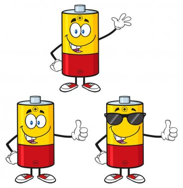 Battery Cartoon Mascot Character
