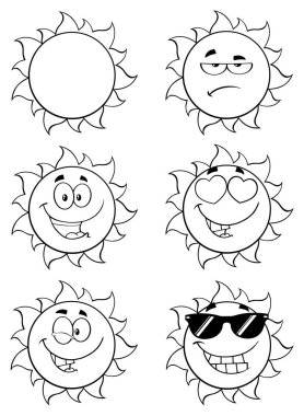 Black And White Sun Cartoon Mascot Characters. Set Raster Collection Isolated On White stock vector