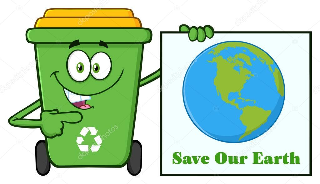 Cute Green Recycle Bin Cartoon
