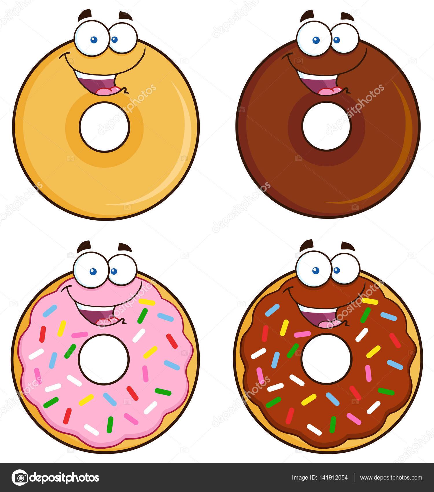 4 つのかわいいドーナツ マンガ キャラクター ストックベクター