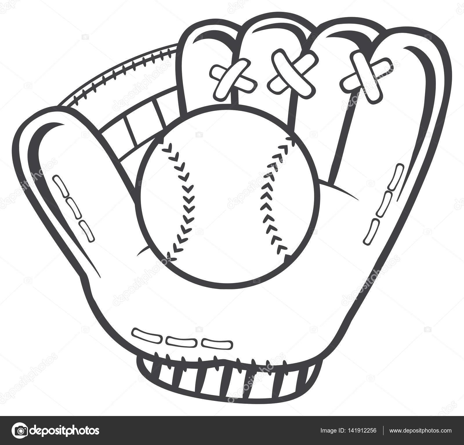 Guante de béisbol negro y blanco — Vector de stock © HitToon #141912256