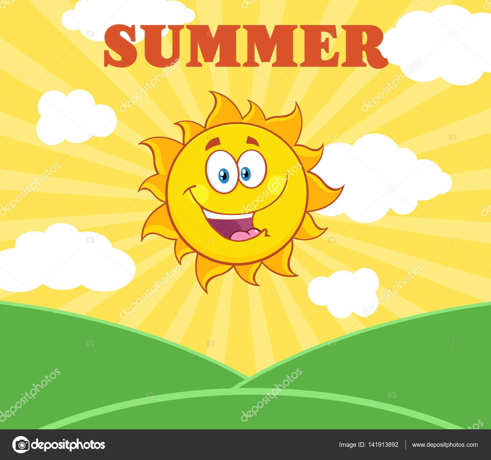 Kreslene Slunicko Happy Sun Maskot Stock Vektor C Hittoon 141913892