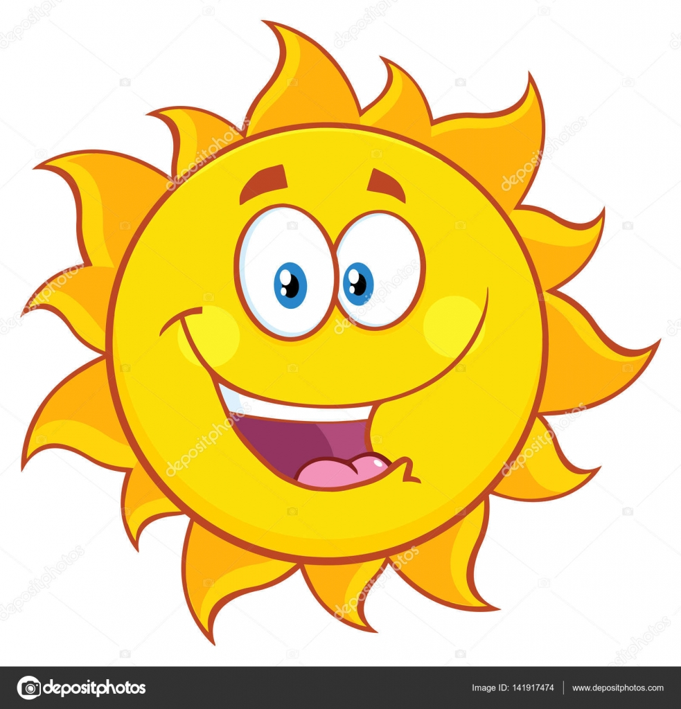 Illustration vectorielle - Soleil heureux, personnage de ...