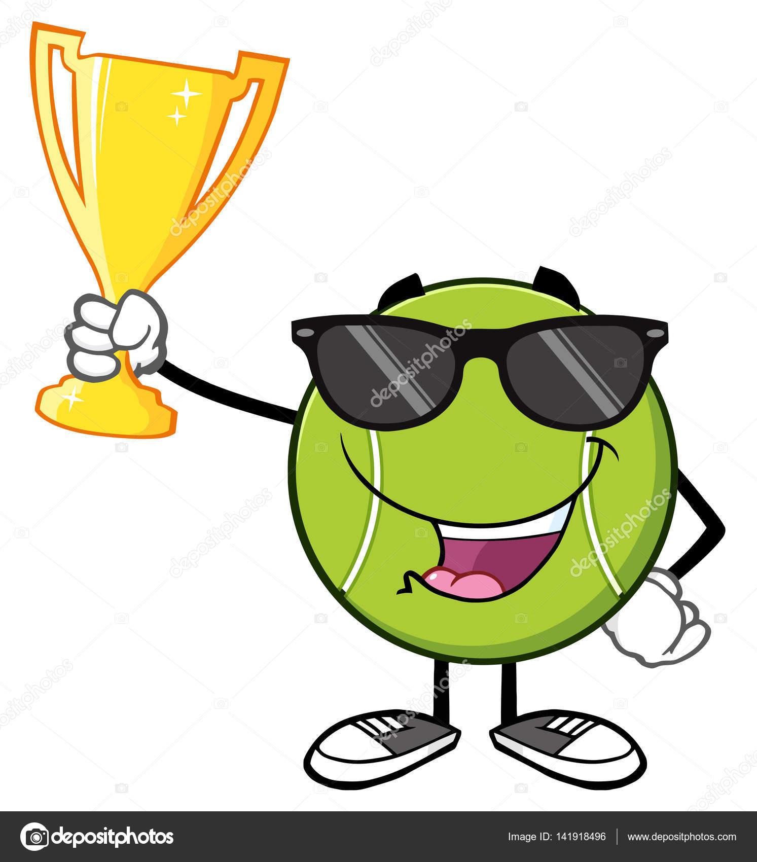 Tenis pelota stock de ilustracion ilustracion libre de stock de - Personaje De Dibujos Animados De Bola Tenis Feliz Con Gafas De Sol Sosteniendo El Trofeo De La Copa Ilustraci N De Vector Aislado En Blanco Vector De