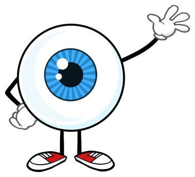 Blue Eyeball Guy Cartoon Mascot Character Waving For Greeting. Raster Illustration Isolated On White Background stock vector