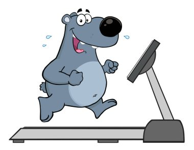 Smiling Gray Bear Cartoon Character