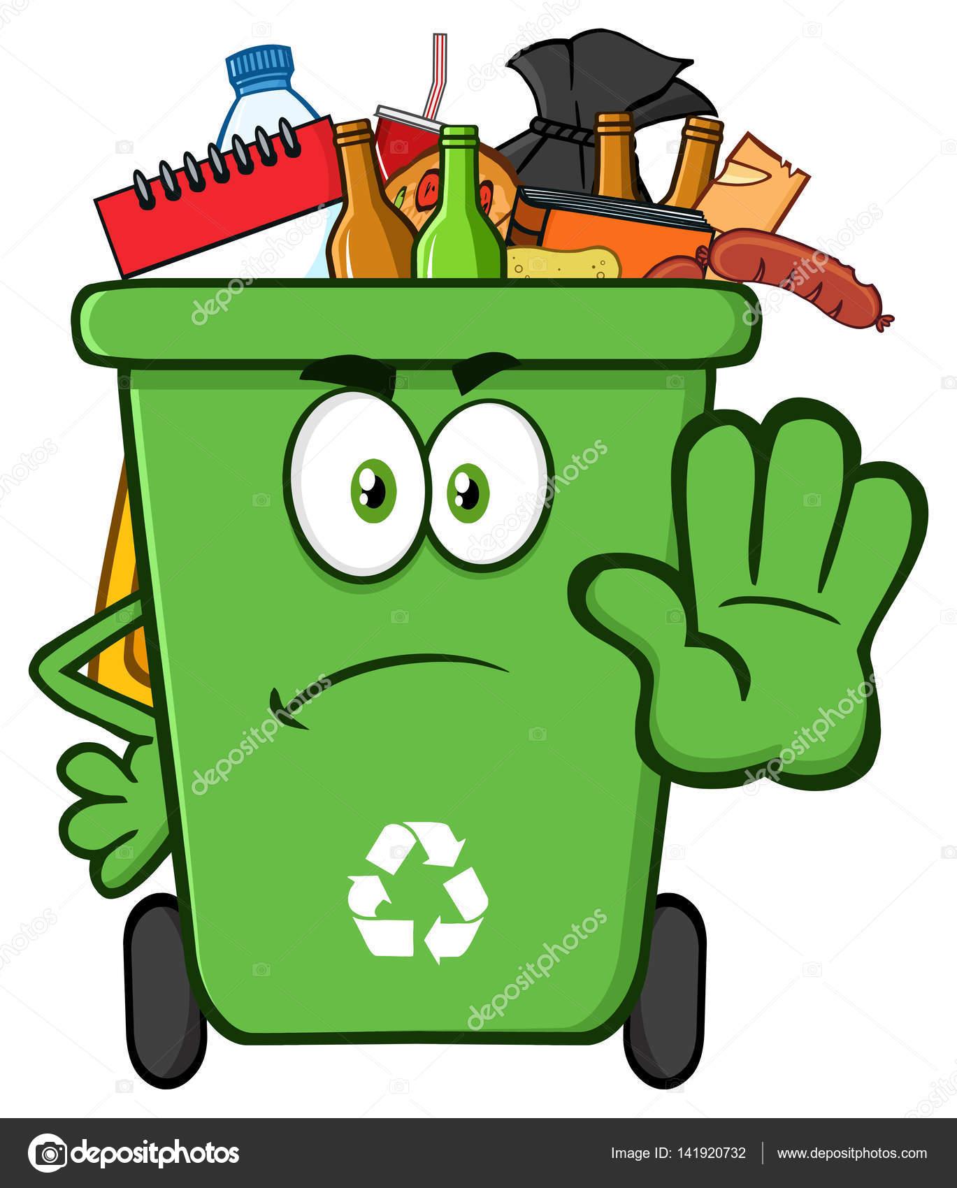 Angry Green Recycle Bin Cartoon Stock Vector 169 Hittoon