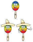 Fotografie Glücklich farbenfrohe mexikanische Maracas Cartoon