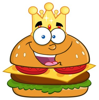 Happy King Hamburger Cartoon Character