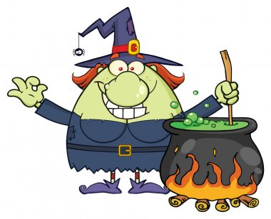 Ugly Witch Cartoon Mascot