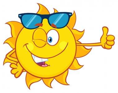 Winking Sun Cartoon