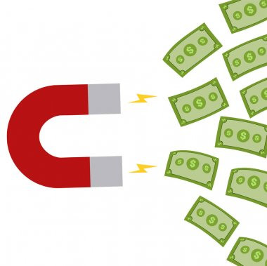 Horseshoe Magnet Attracting Cash Money.