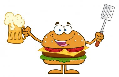 Burger Cartoon Mascot Character