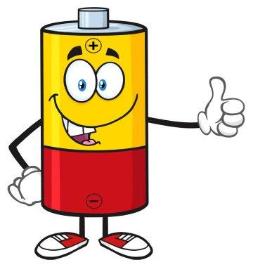 Funny Battery Cartoon Mascot Character