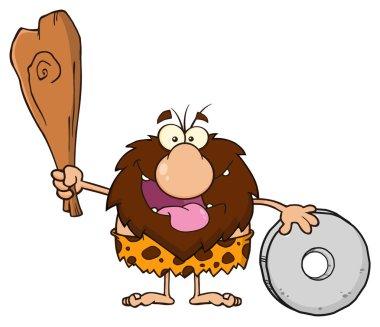 Happy Male Caveman Cartoon Mascot