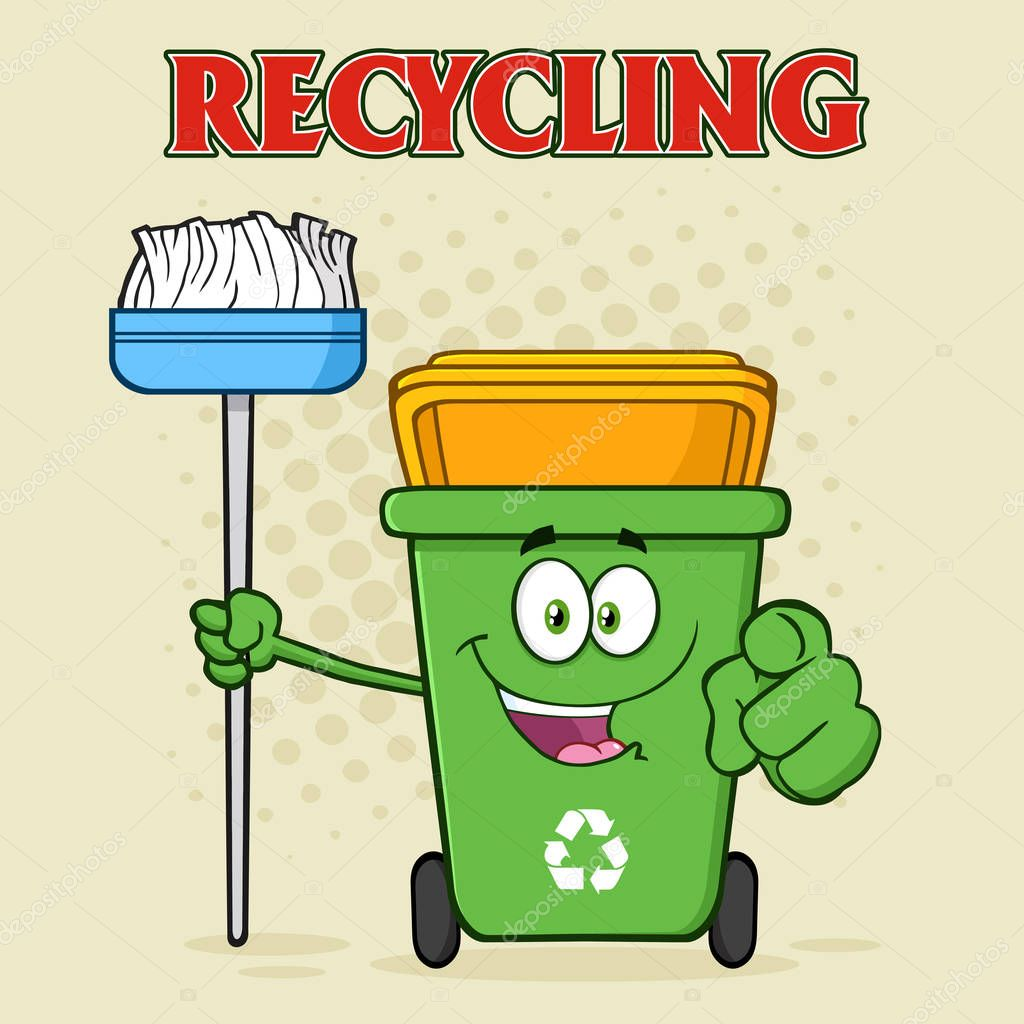 Green Recycle Bin Cartoon
