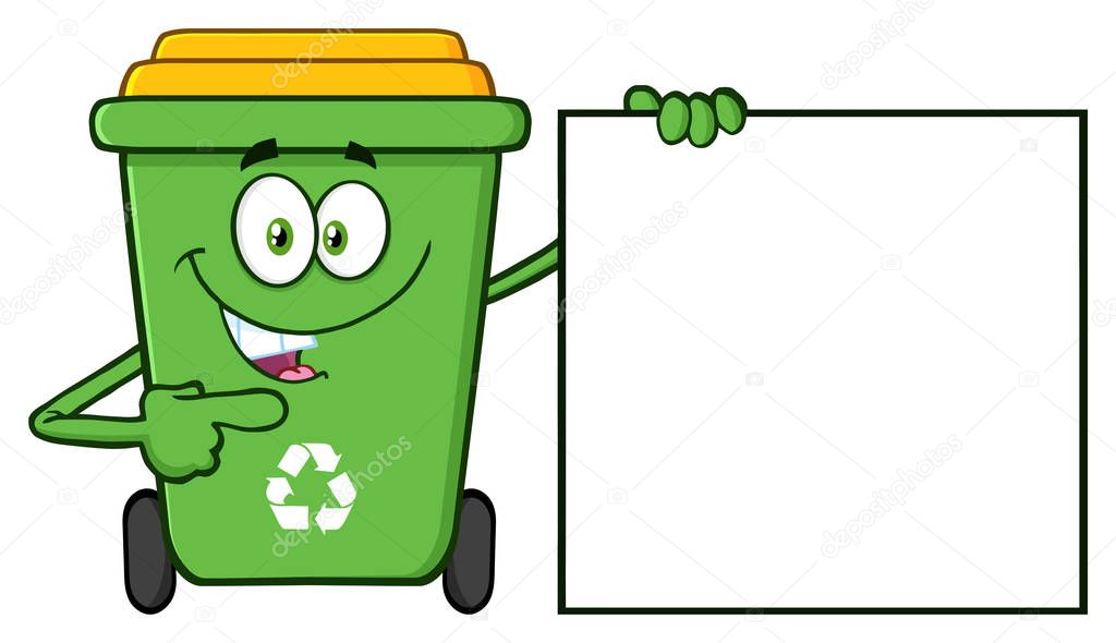 Talking Green Recycle Bin Cartoon