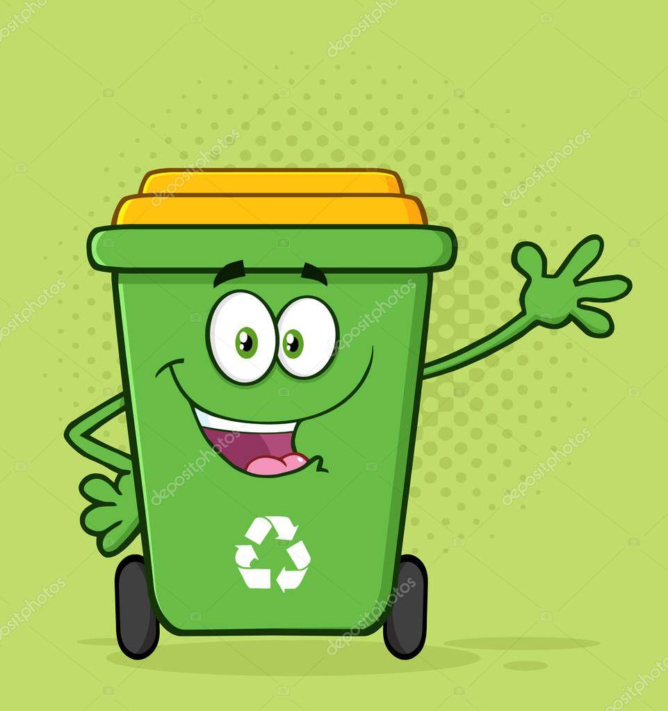 Happy Green Recycle Bin Cartoon
