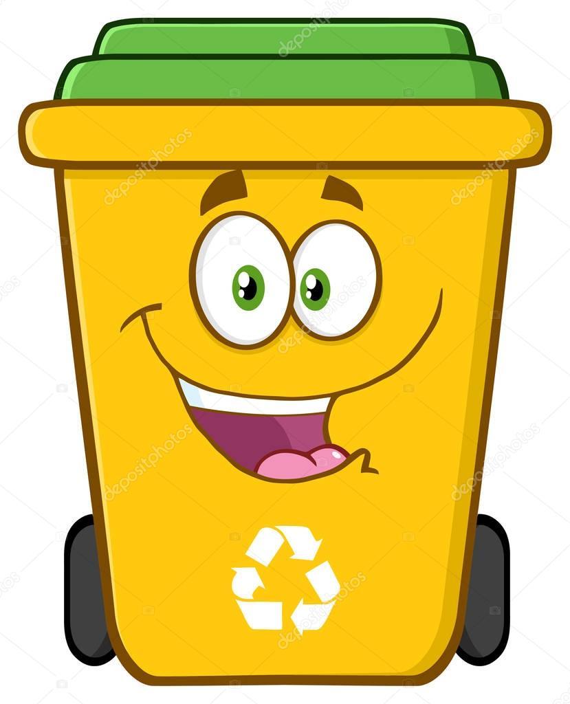 Happy Yellow Recycle Bin Cartoon
