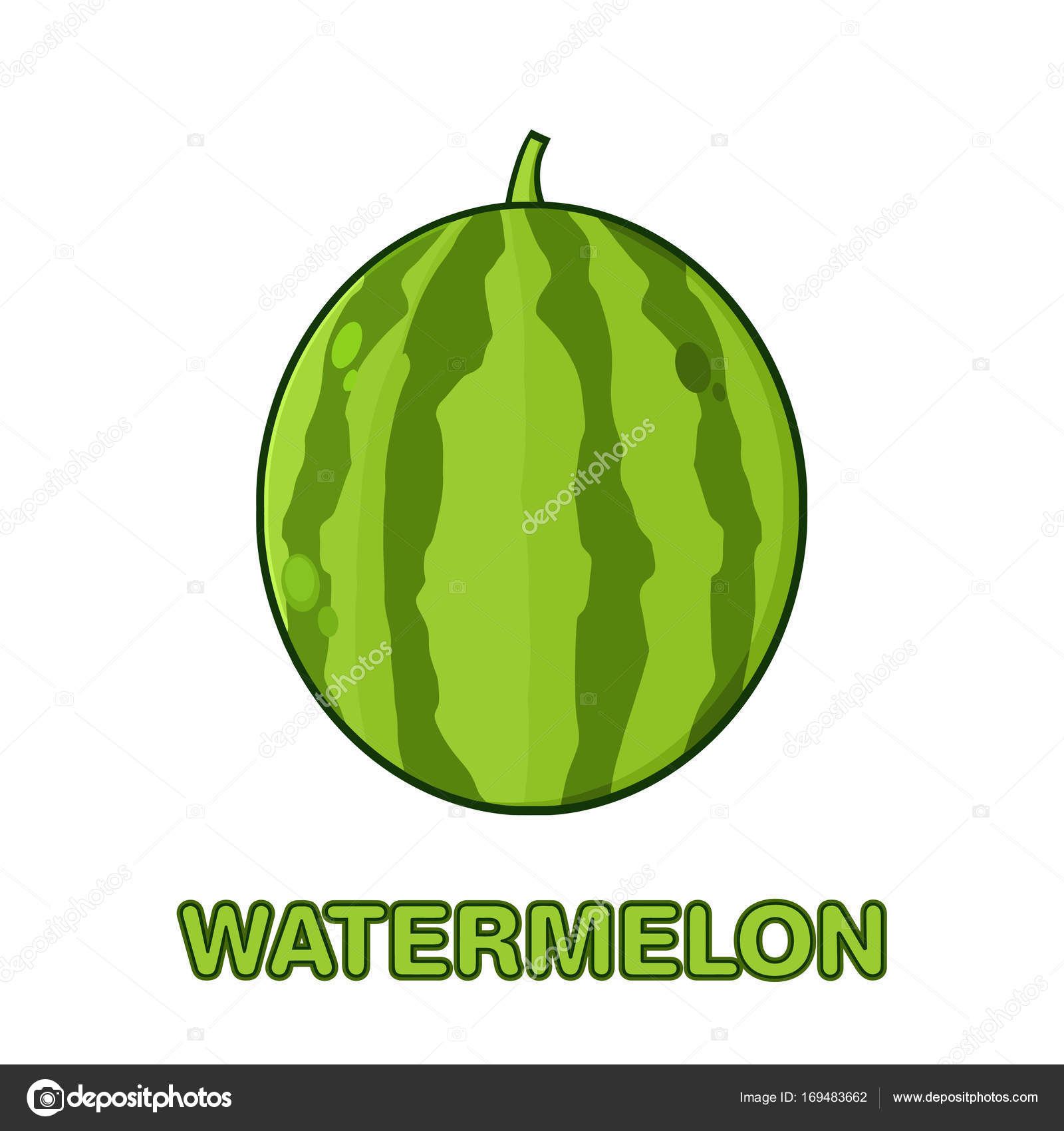 Frutas Frescas Melancia Verde Cartoon Desenho Design Simples