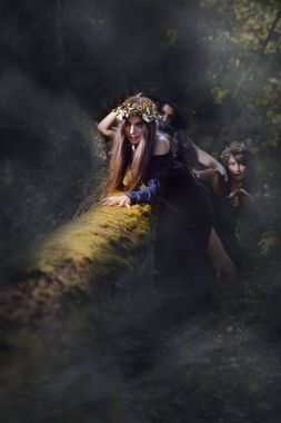 Witches in a dark misty forest