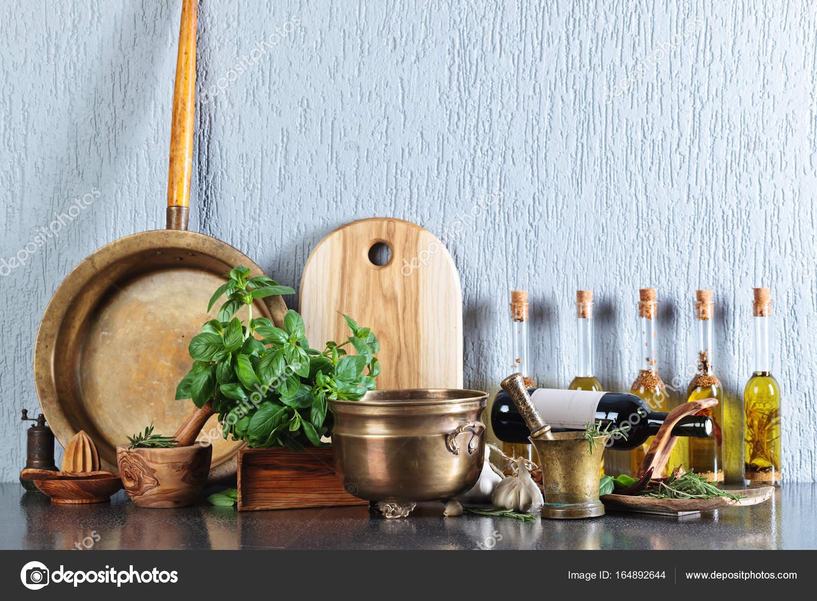 Vintage Kitchen Utensils With Bottles Of Olive Oil. U2014 Stock Photo