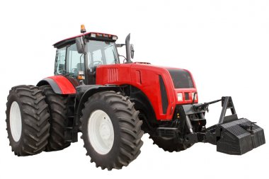 new red tractorNew Red modernized agricultural tractor with large wheels at the isolated