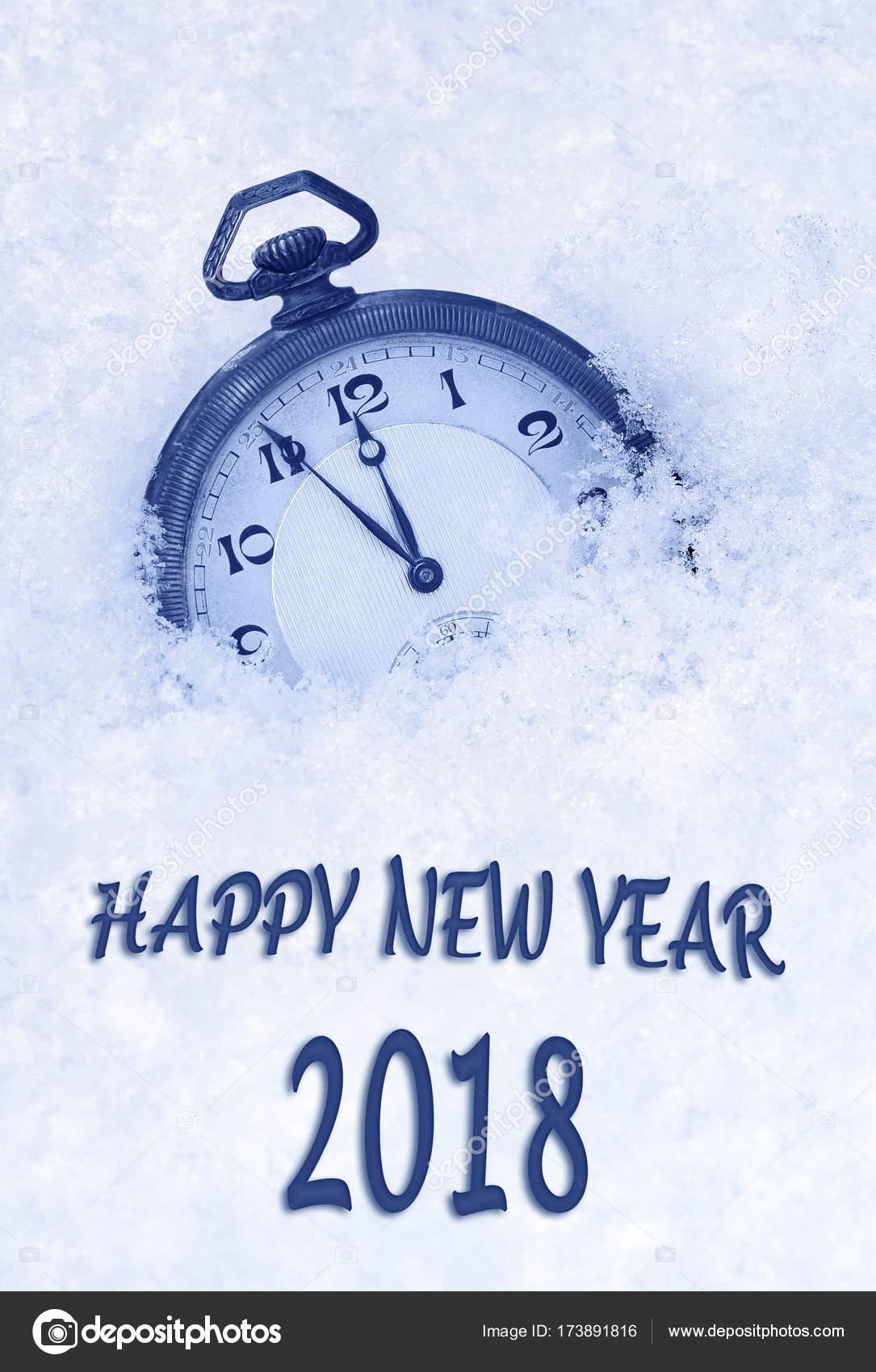 2018 new year greeting card in english language pocket watch in 2018 new year greeting card in english language pocket watch in snow 2018 new year 2018 greeting photo by brozova m4hsunfo