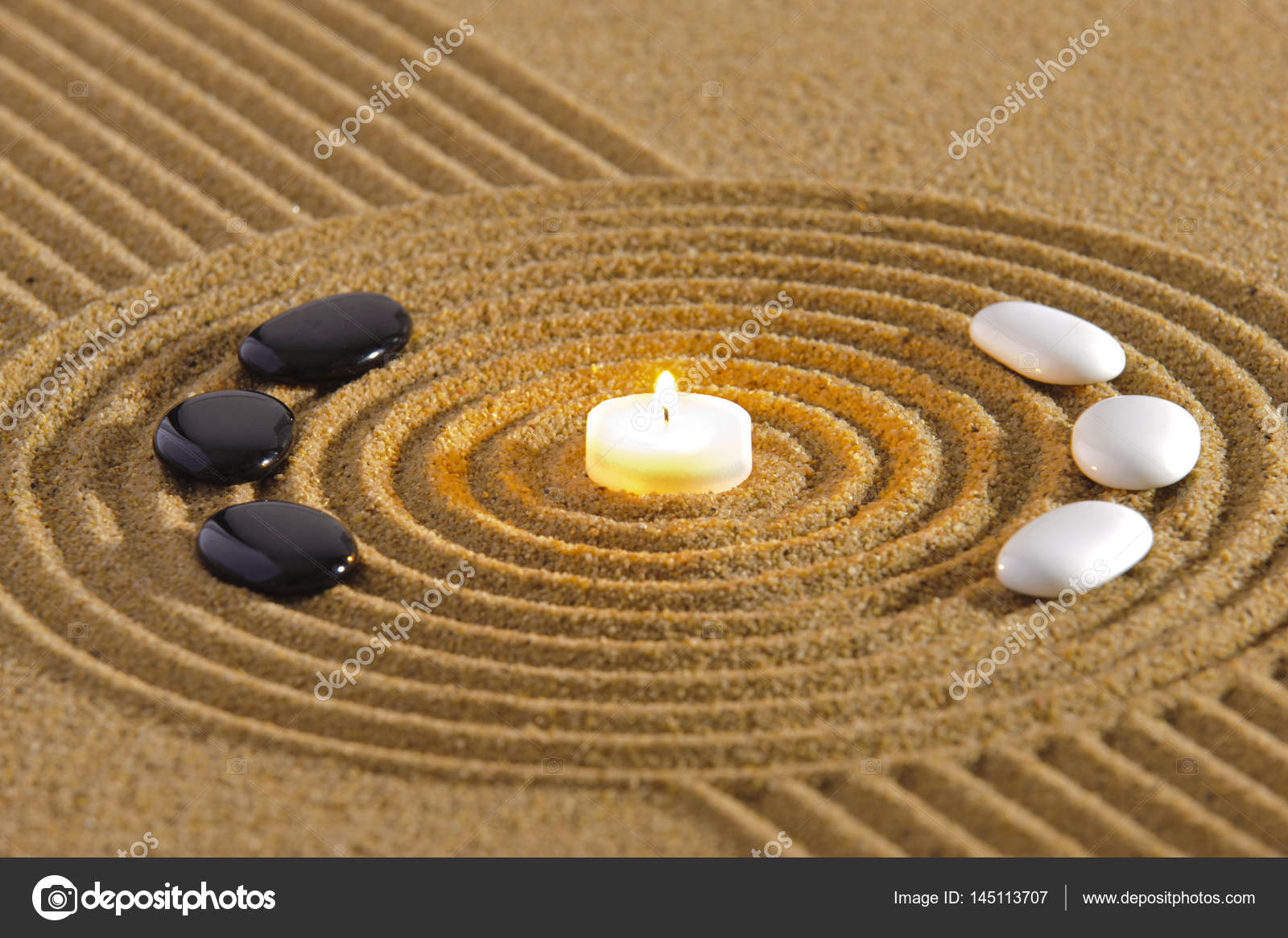 japanese zen garden with texture in sand — Stock Photo © filmfoto ...