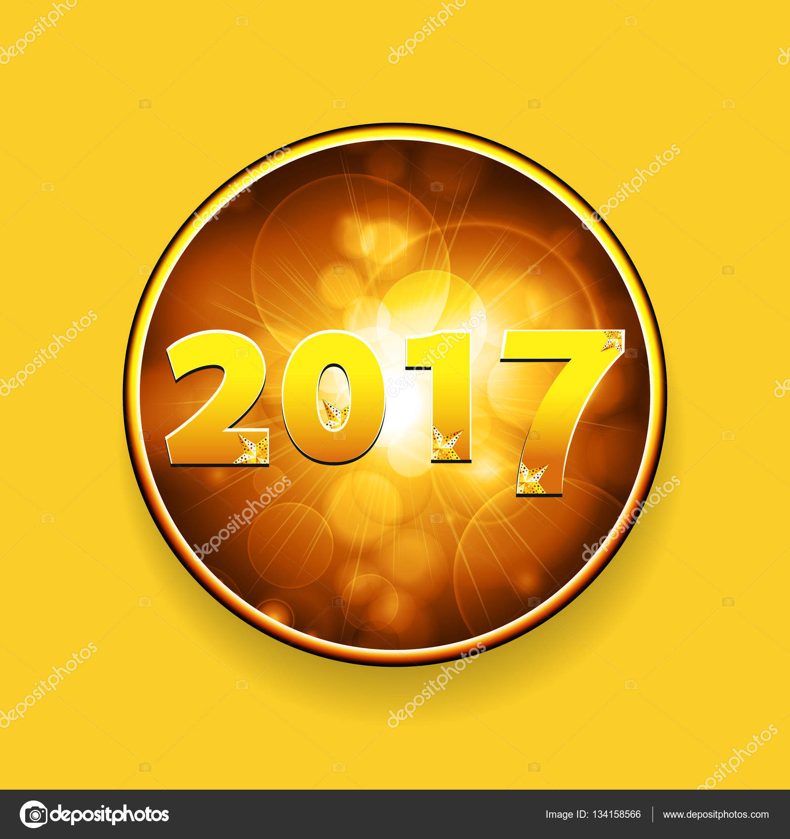 new year twenty seventeen border with stars on yellow background stock vector 134158566