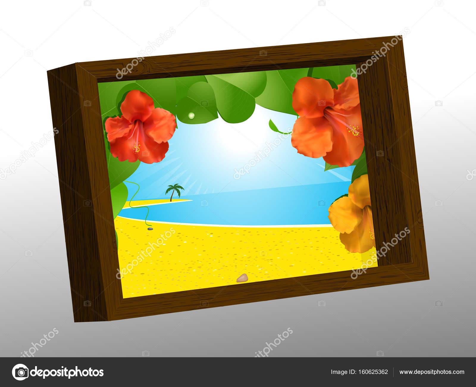 Holz Bilderrahmen mit Sommer Bild — Stockvektor © elaineitalia ...