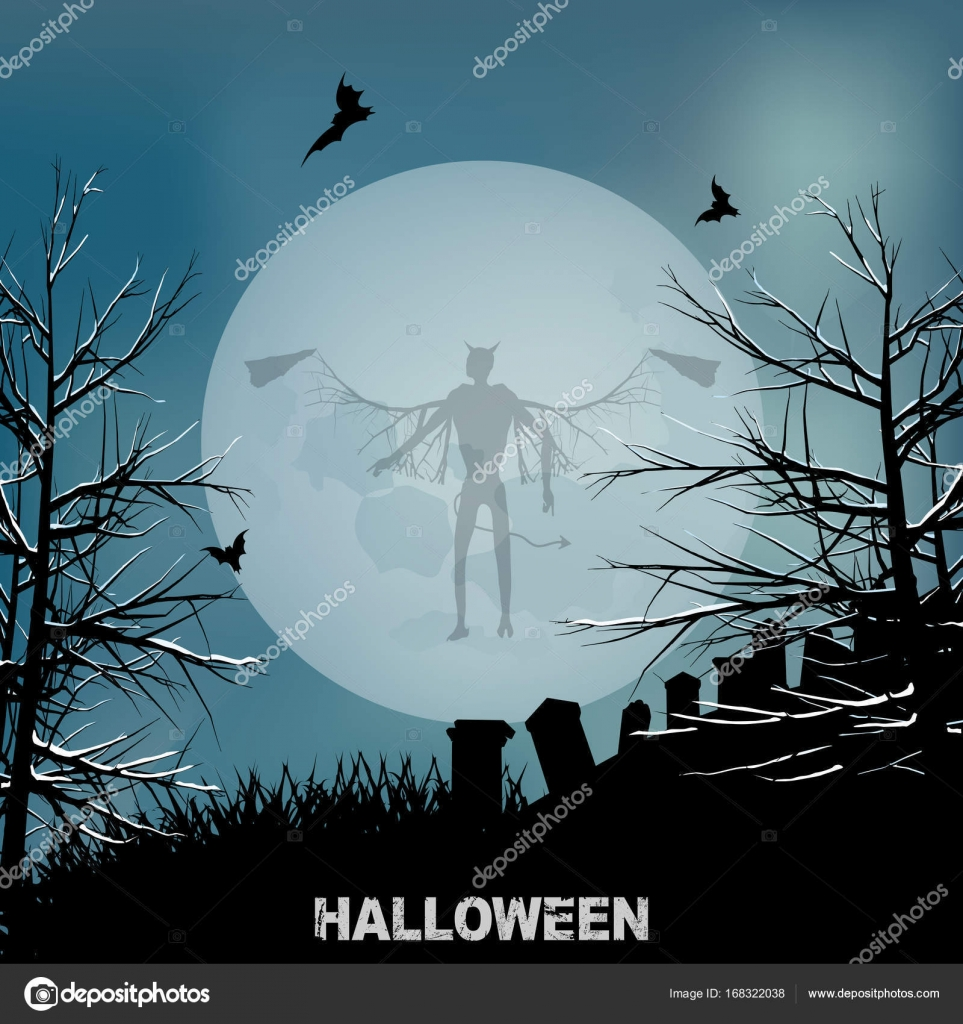 ハロウィーン悪天使と月背景– ストックイラスト