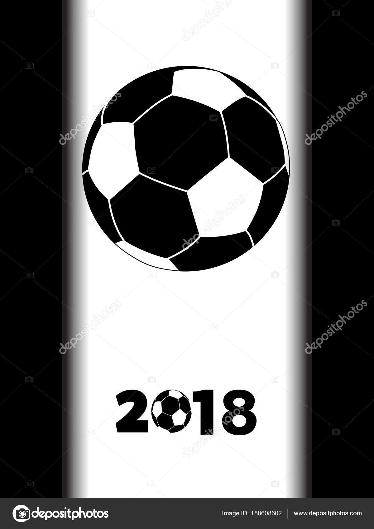 Soccer football black silhouette with decorative 2018 over white panel on black background vector by elaineitalia