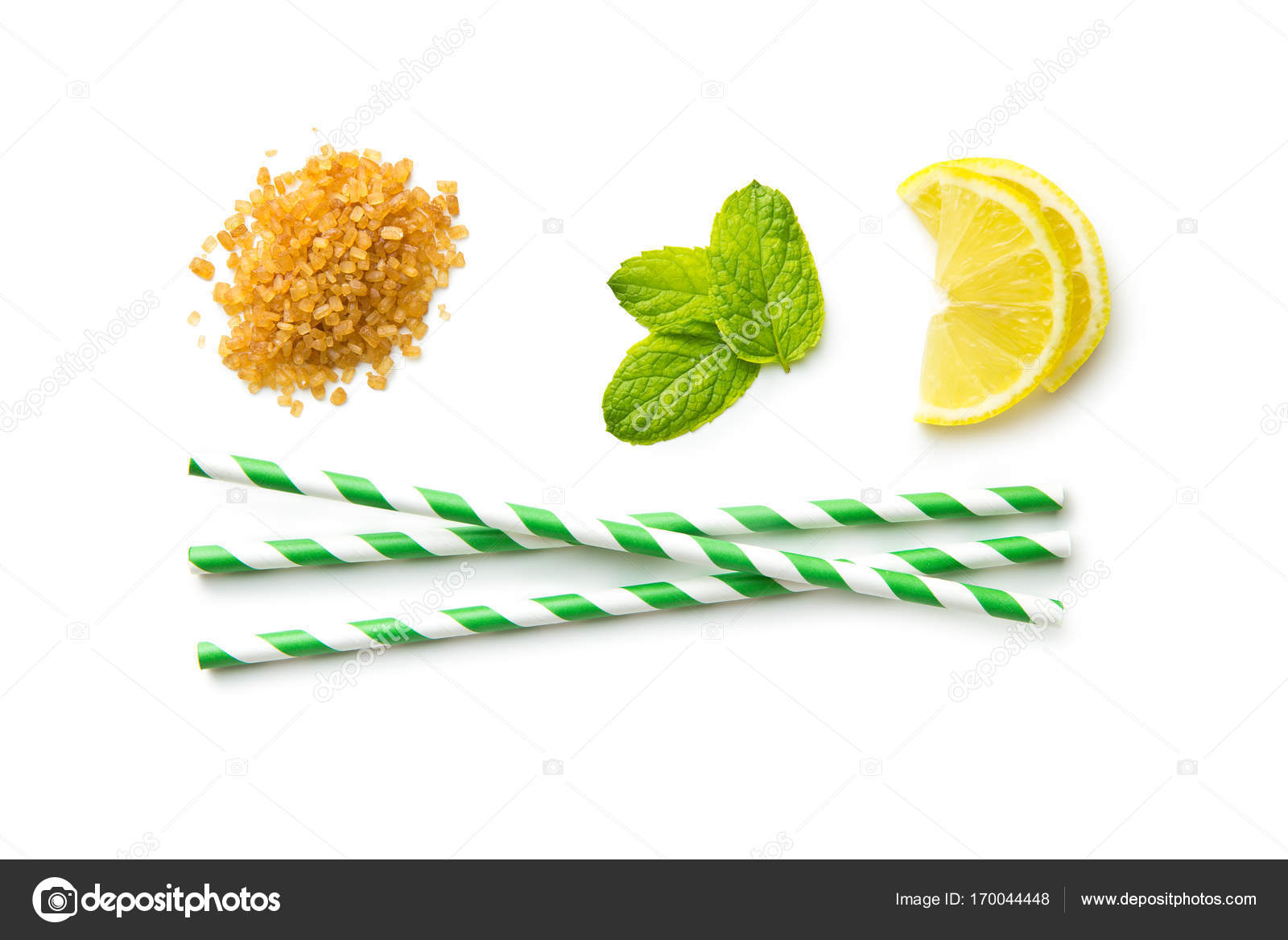 Mojito Ingredients Lemon Mint And Cane Sugar Stock Photo