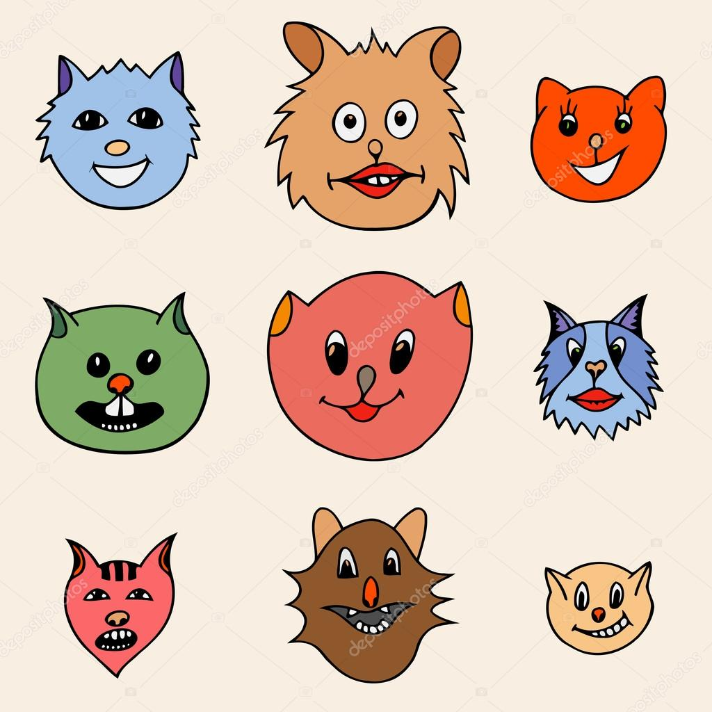 Dibujos Gatos Animados Caras Dibujos Animados Adorable Gatos