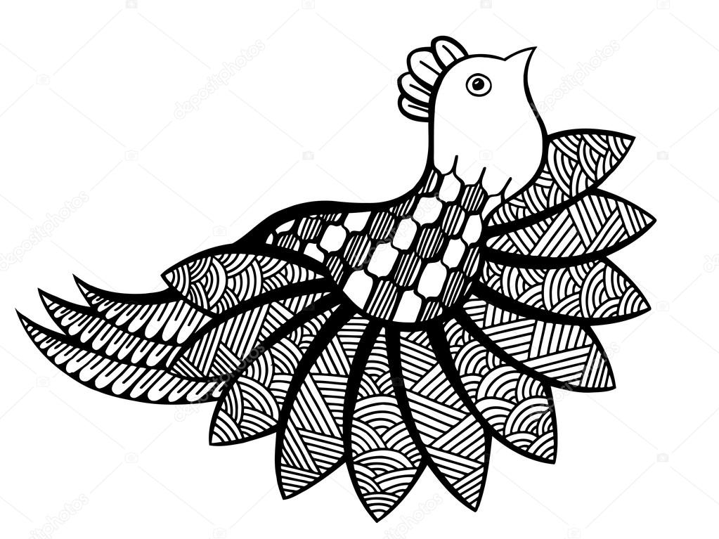 Vektor Ornamentalen Lustige Vogel Stockvektor Frescomovie 125789674