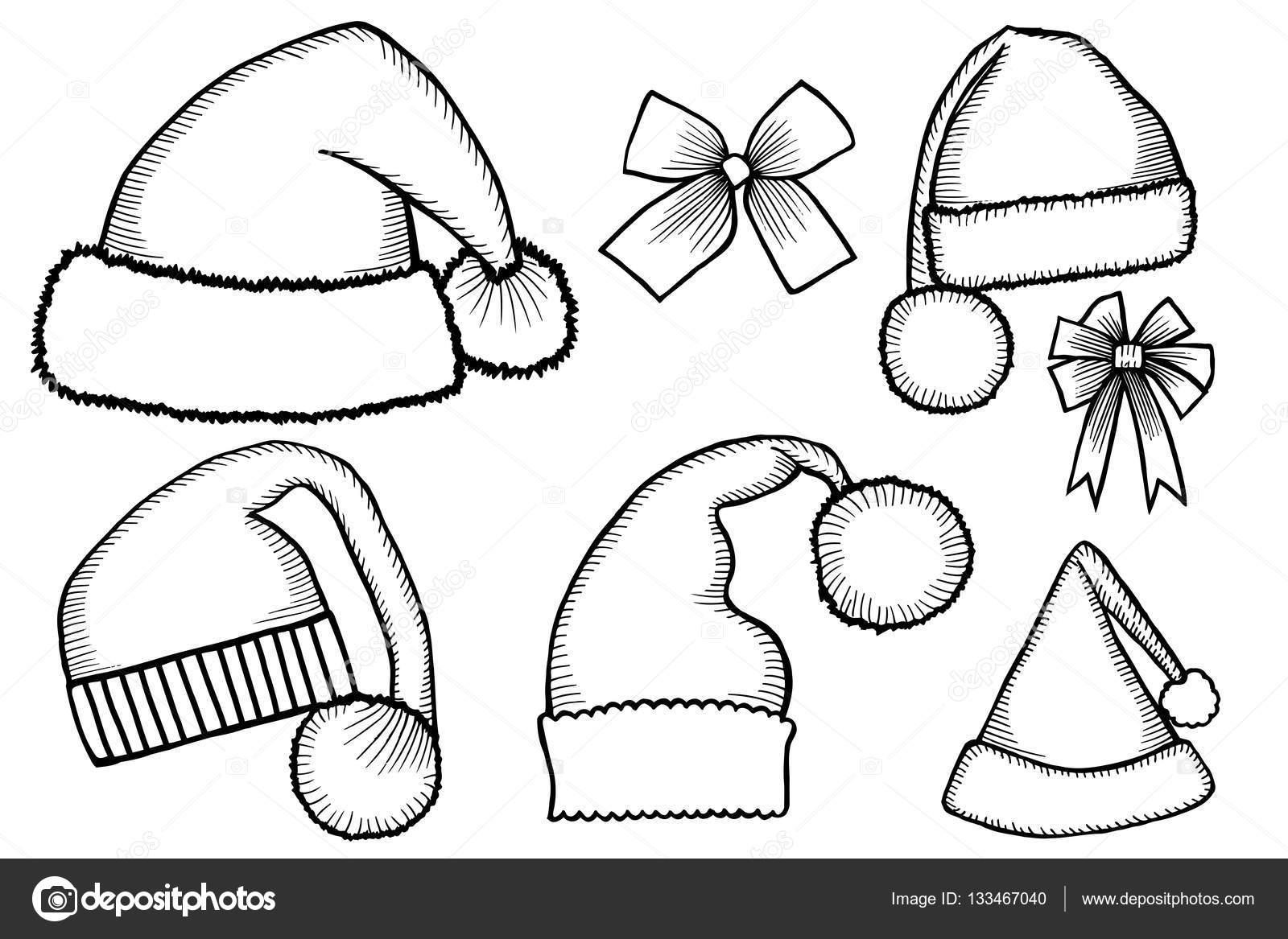 Doodle Sombreros De Santa Claus Vector De Stock