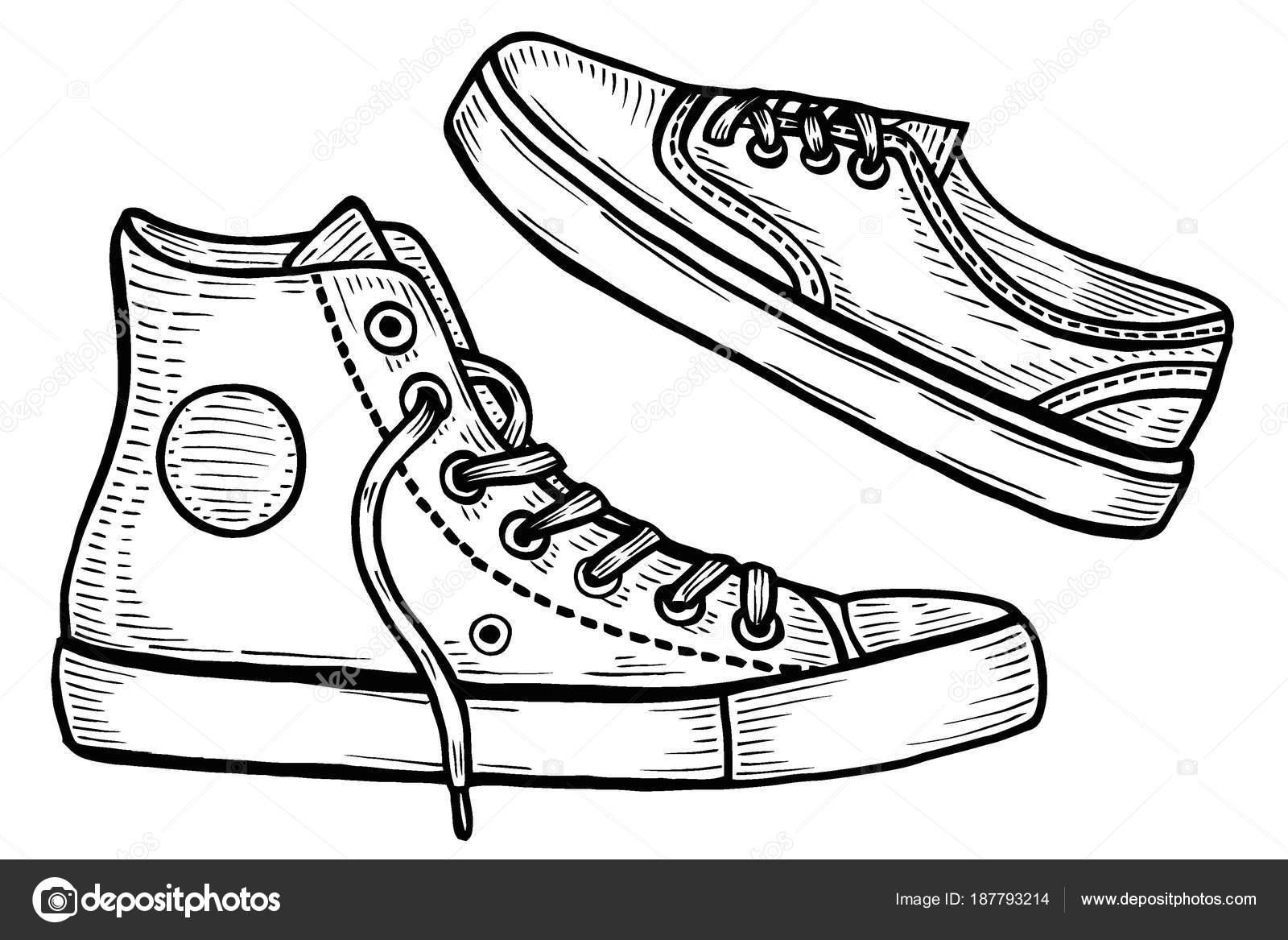 Mano dibuja dos zapatillas de deporte — Archivo Imágenes Vectoriales ...
