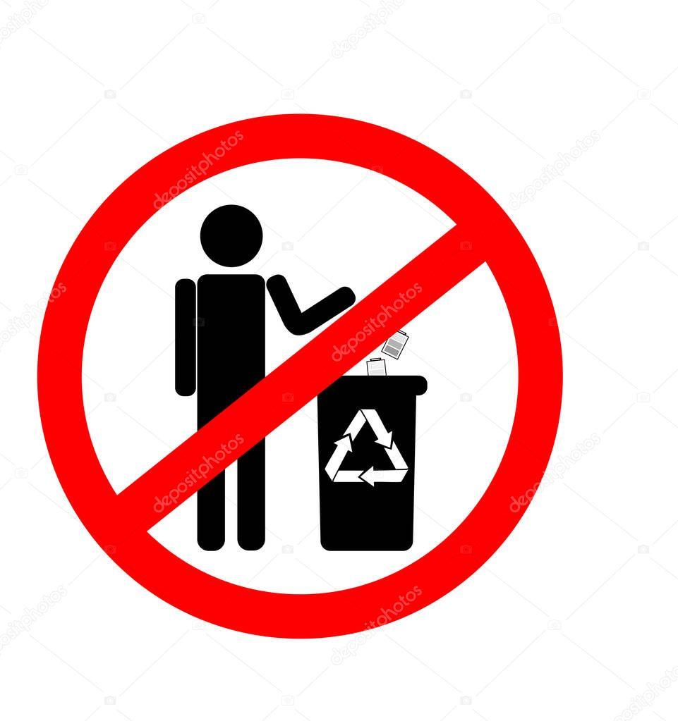 ごみのポイ捨て禁止看板、バッテリの廃棄方法を禁止しないでください。 — ストックイラストレーション