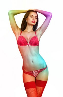 multi-colored body of sensuality woman
