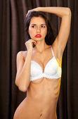 Photo lascivious girl in white bra